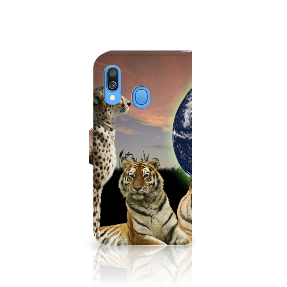 Samsung Galaxy A40 Telefoonhoesje met Pasjes Roofdieren