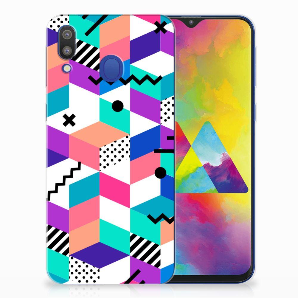 Samsung Galaxy M20 (Power) TPU Hoesje Blokken Kleurrijk