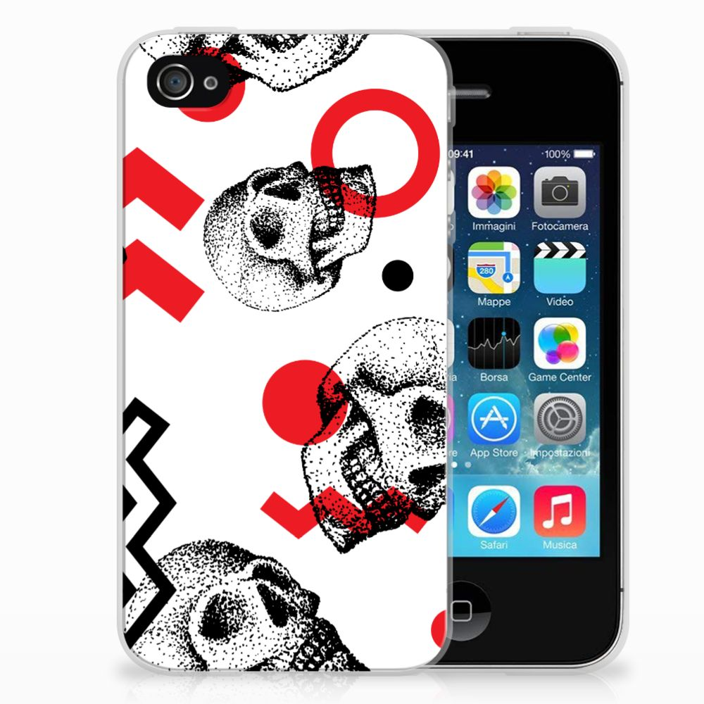 Silicone Back Case Apple iPhone 4 | 4s Skull Red