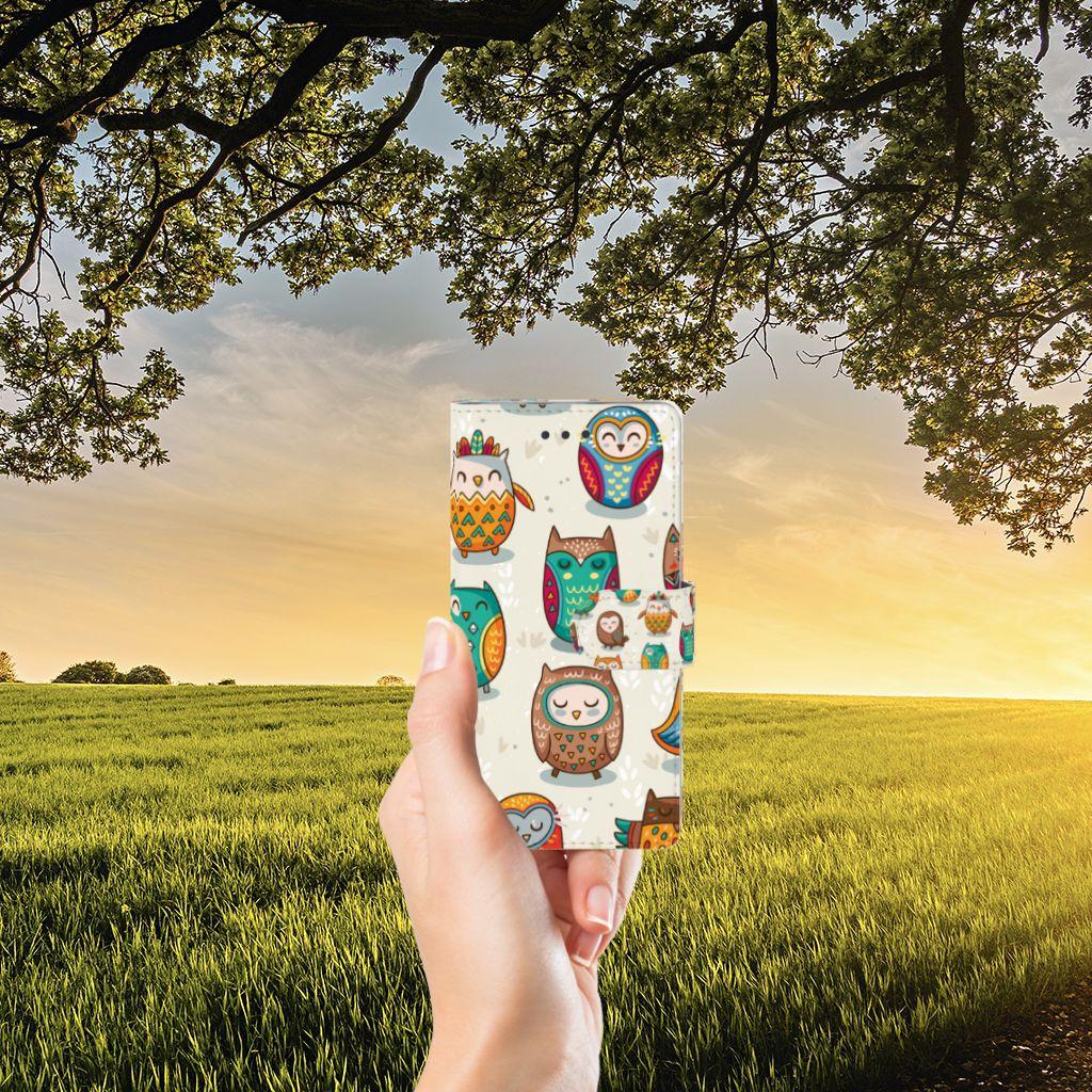 Huawei Ascend P8 Lite Telefoonhoesje met Pasjes Vrolijke Uilen
