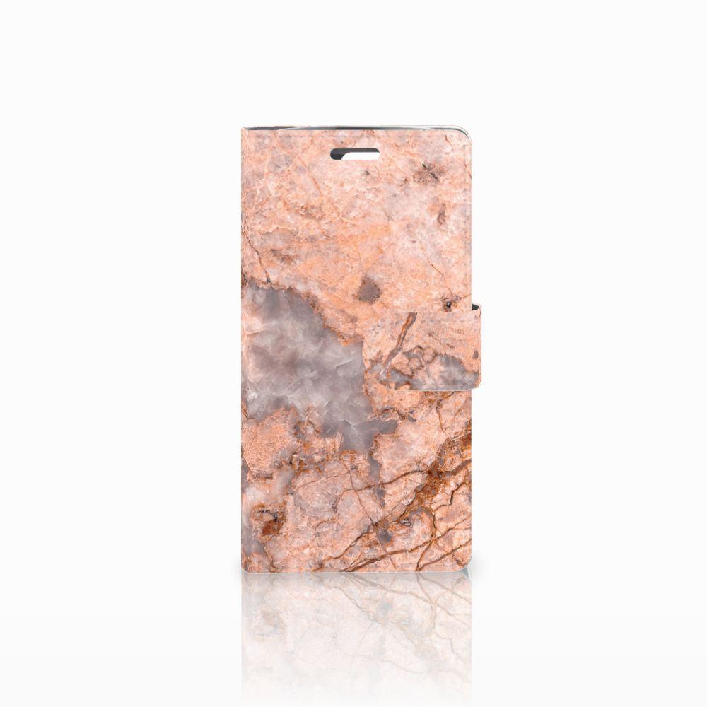 LG K10 2015 Bookcase Marmer Oranje