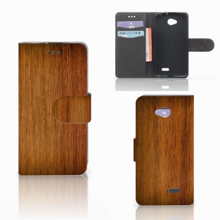 LG L70 Book Style Case Donker Hout