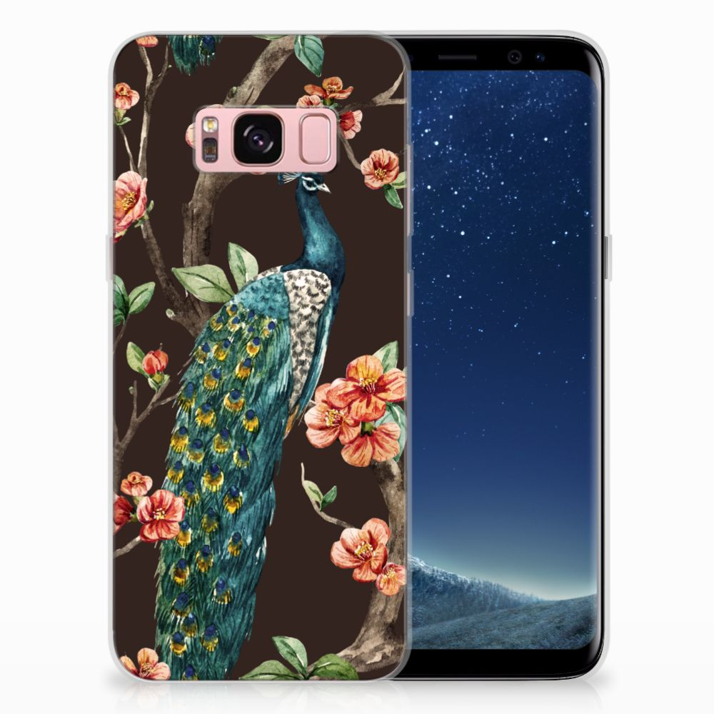 Samsung Galaxy S8 TPU Hoesje Design Pauw met Bloemen