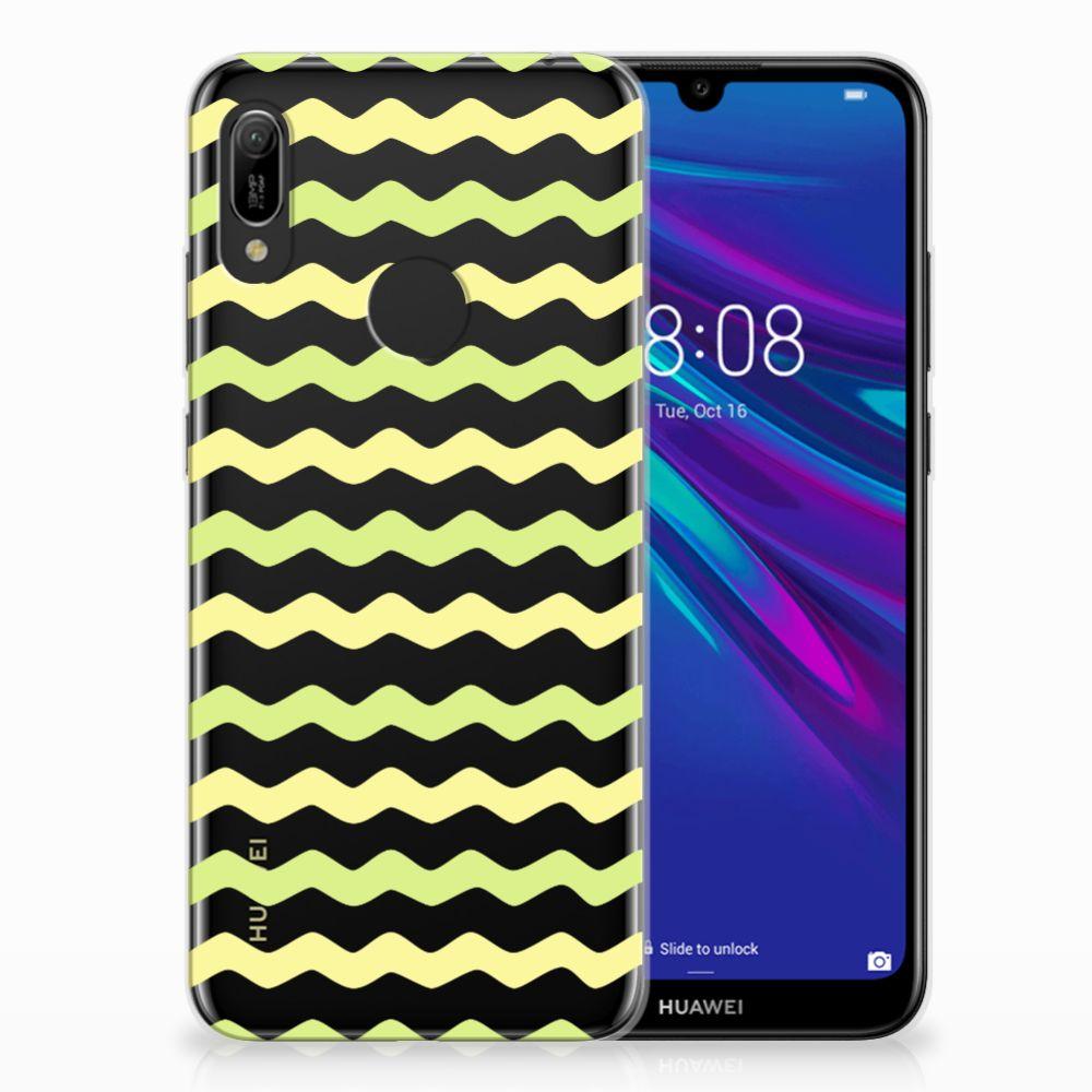 Huawei Y6 2019 | Y6 Pro 2019 Uniek TPU Hoesje Waves Yellow