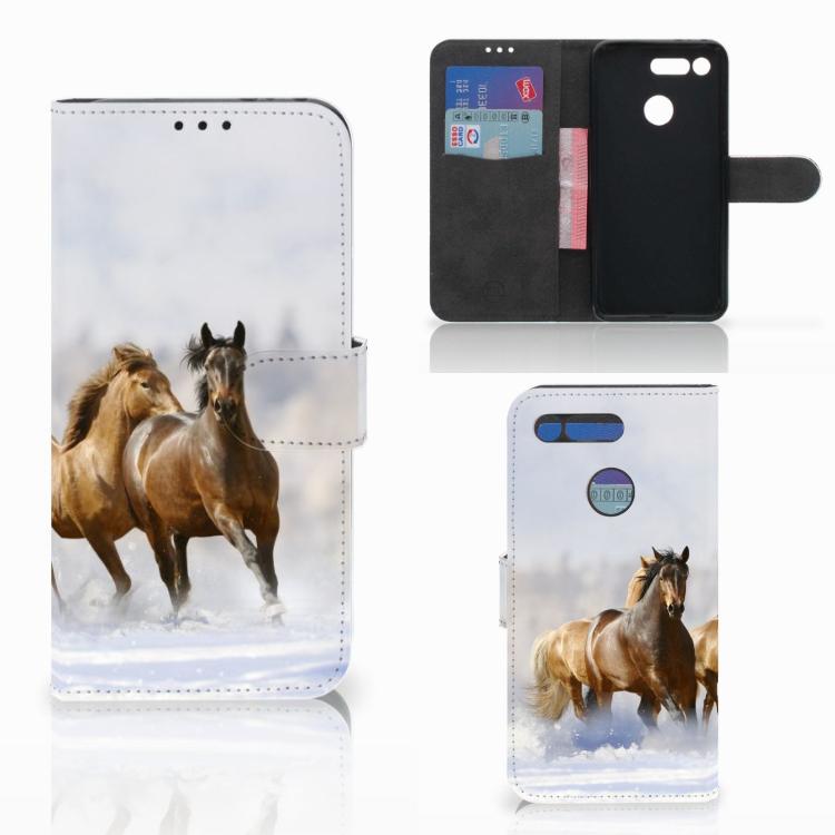 Honor View 20 Telefoonhoesje met Pasjes Paarden