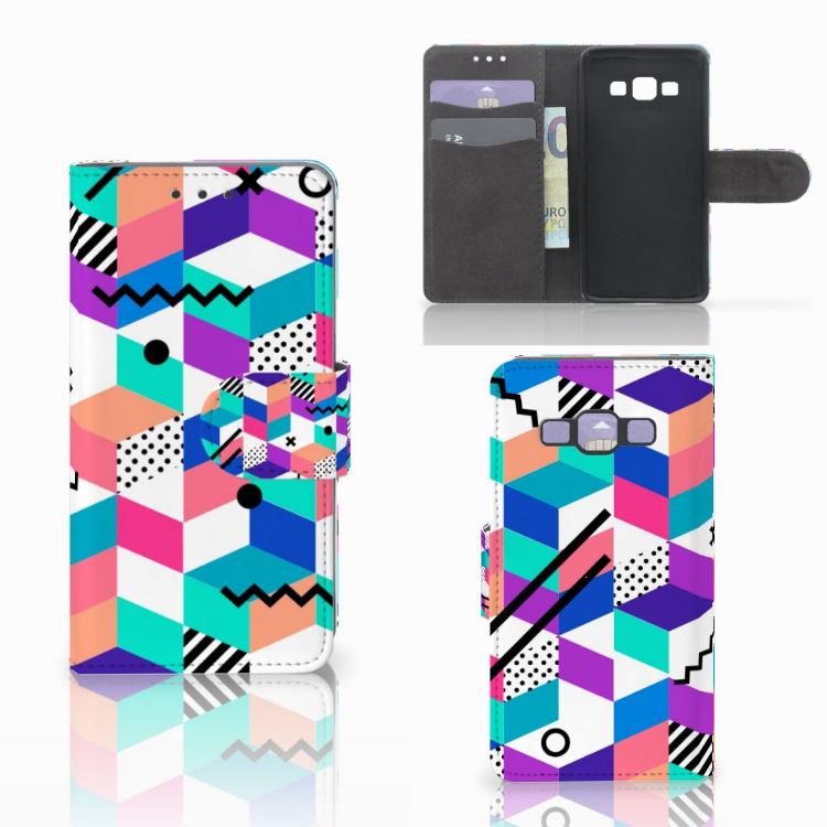 Samsung Galaxy A3 2015 Bookcase Blokken Kleurrijk
