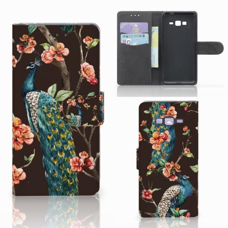 Samsung Galaxy Grand Prime | Grand Prime VE G531F Telefoonhoesje met Pasjes Pauw met Bloemen