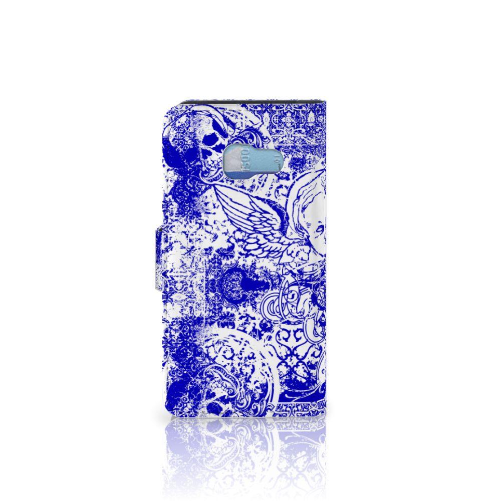 Telefoonhoesje met Naam Samsung Galaxy A3 2017 Angel Skull Blauw