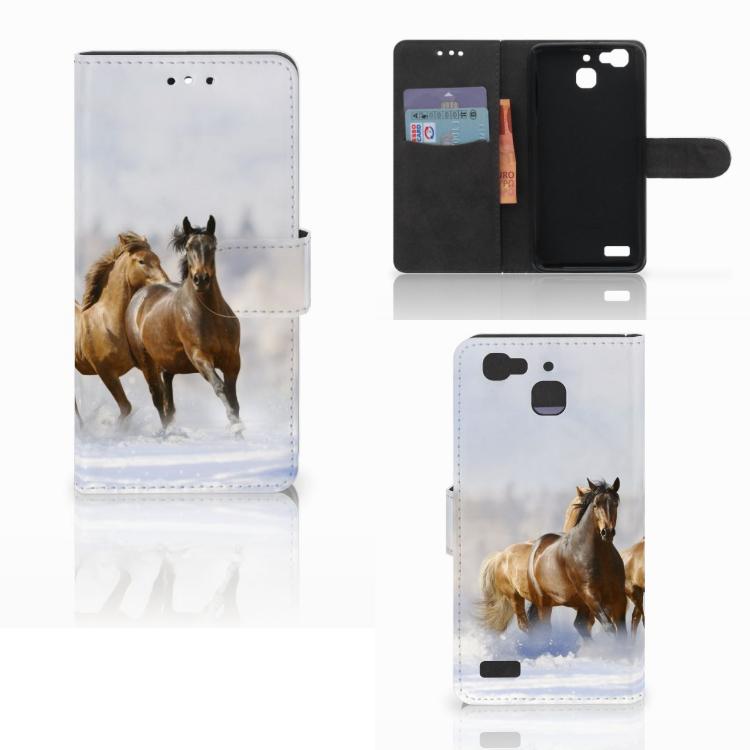 Huawei P8 Lite Smart (GR3) Telefoonhoesje met Pasjes Paarden