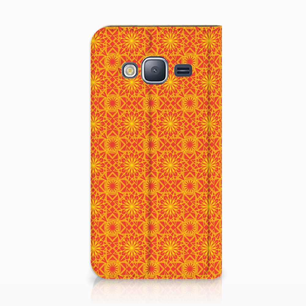 Samsung Galaxy J3 2016 Standcase Hoesje Design Batik Orange