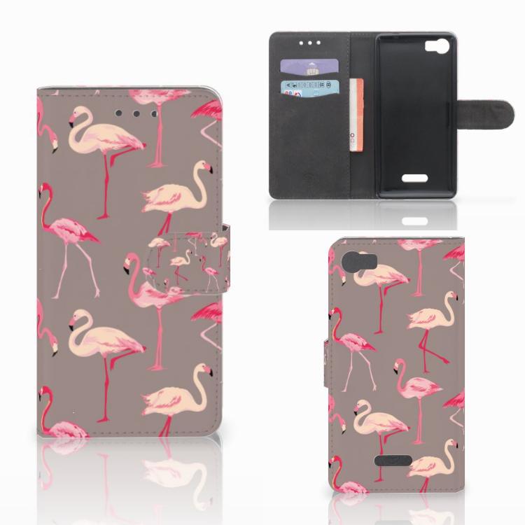 Wiko Fever (4G) Telefoonhoesje met Pasjes Flamingo