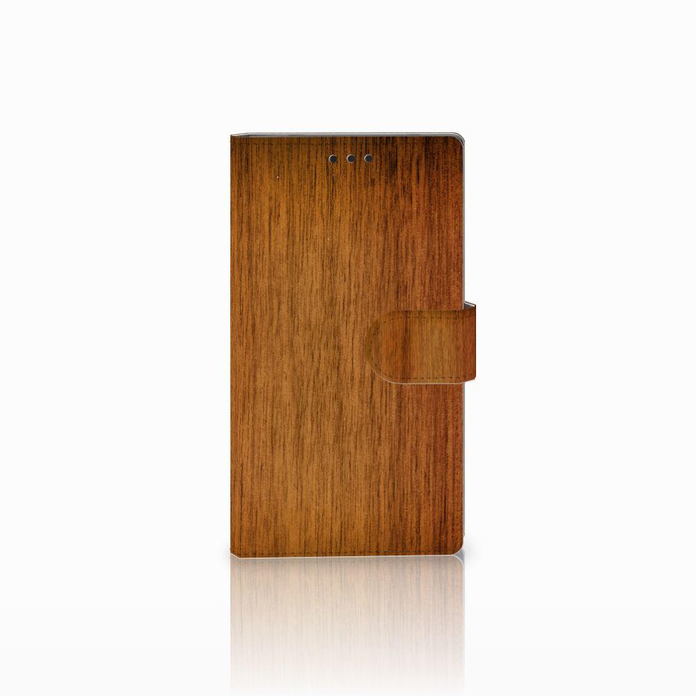 Sony Xperia L2 Uniek Boekhoesje Donker Hout