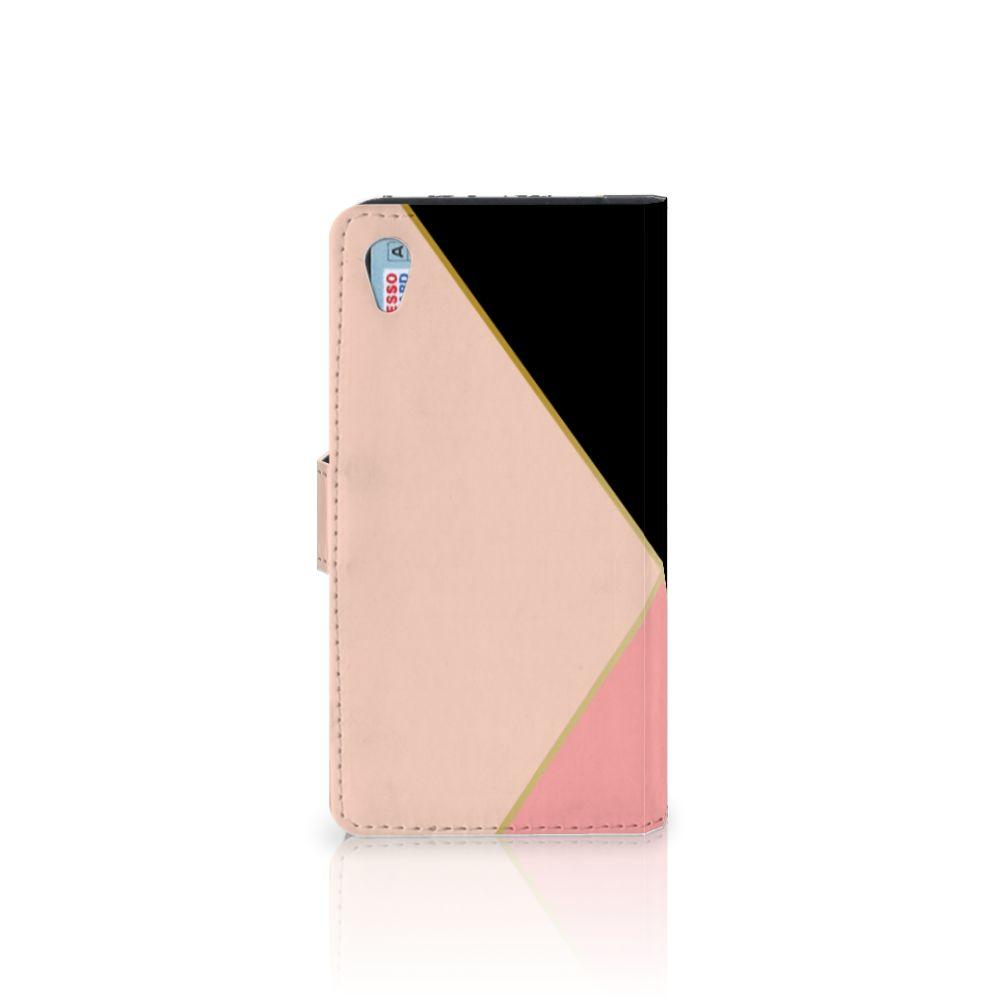 Sony Xperia Z3 Bookcase Zwart Roze Vormen