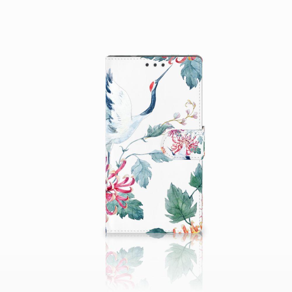 Samsung Galaxy Note 4 Uniek Boekhoesje Bird Flowers