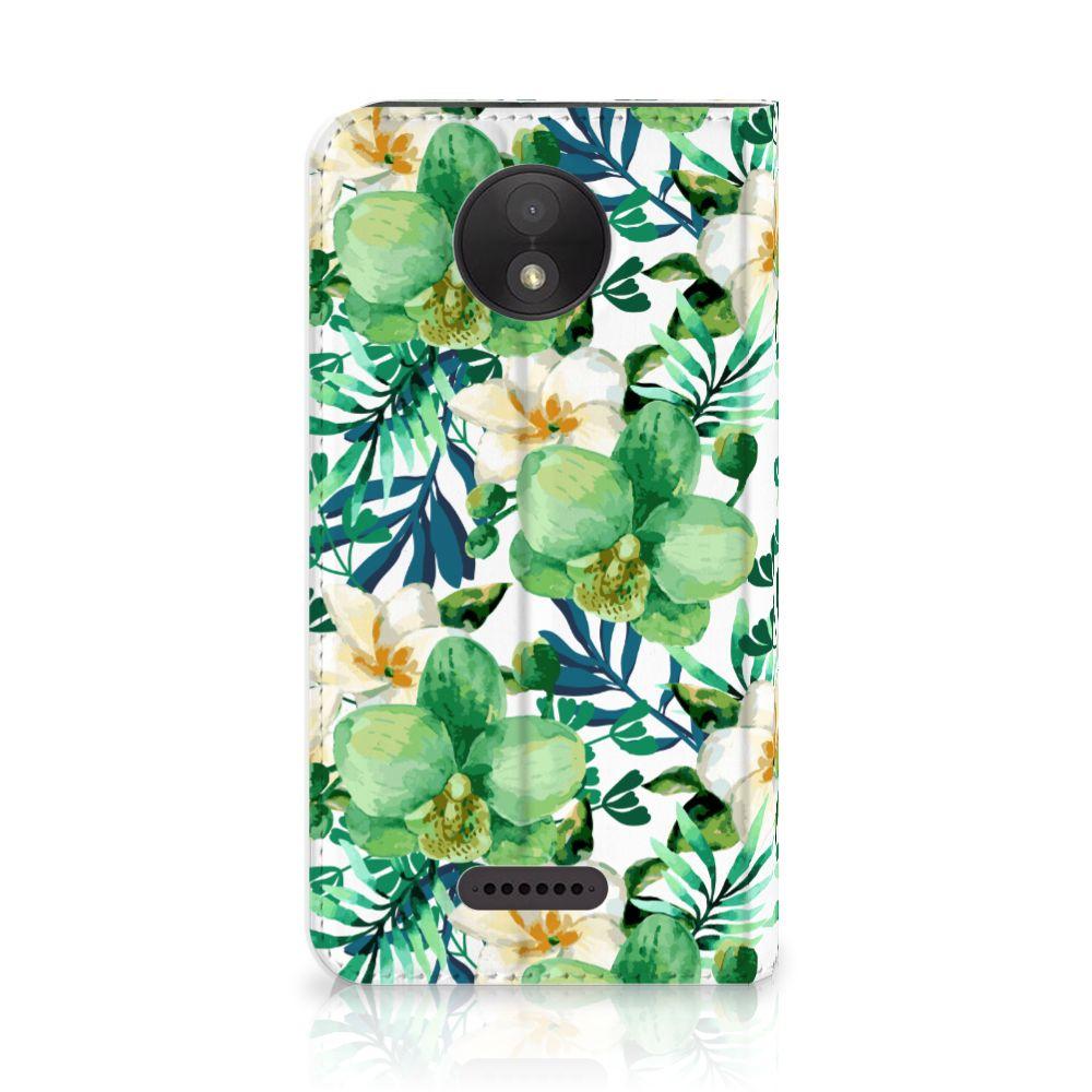 Motorola Moto C Plus Uniek Standcase Hoesje Orchidee Groen