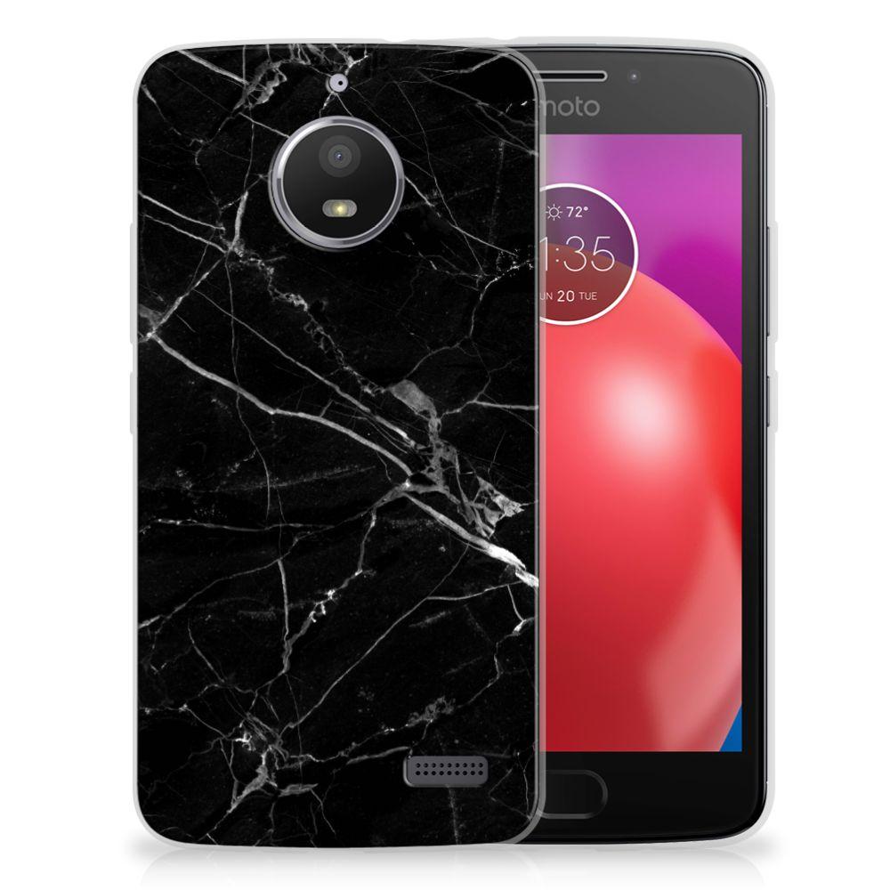 Motorola Moto E4 TPU Siliconen Hoesje Marmer Zwart