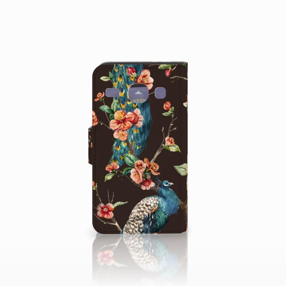 Samsung Galaxy Core i8260 Telefoonhoesje met Pasjes Pauw met Bloemen