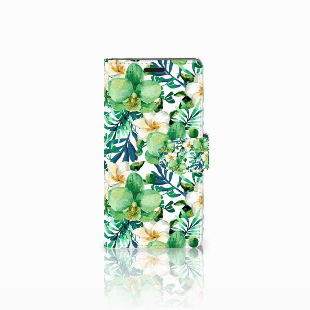 Sony Xperia E3 Uniek Boekhoesje Orchidee Groen