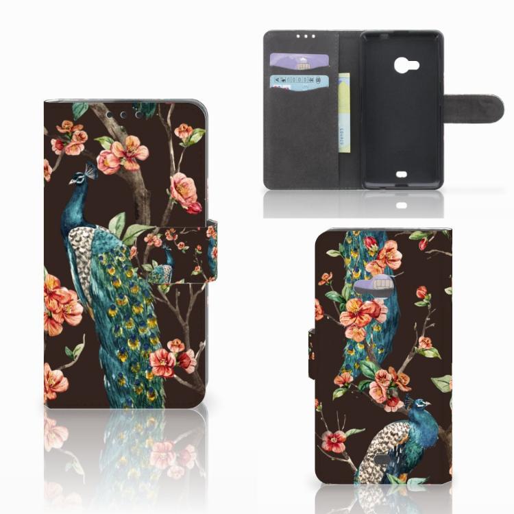 Microsoft Lumia 535 Telefoonhoesje met Pasjes Pauw met Bloemen