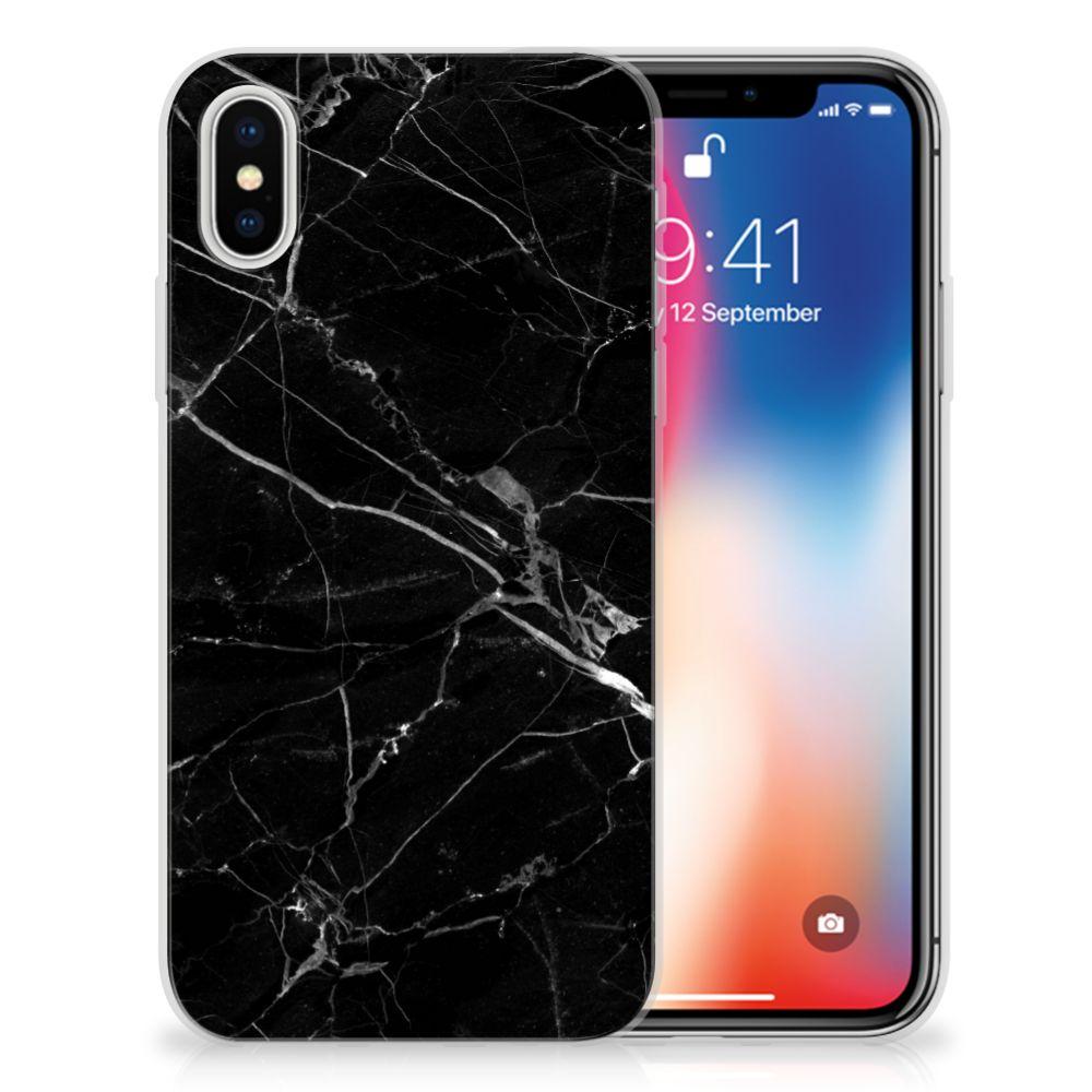 Apple iPhone X | Xs TPU Siliconen Hoesje Marmer Zwart - Origineel Cadeau Vader