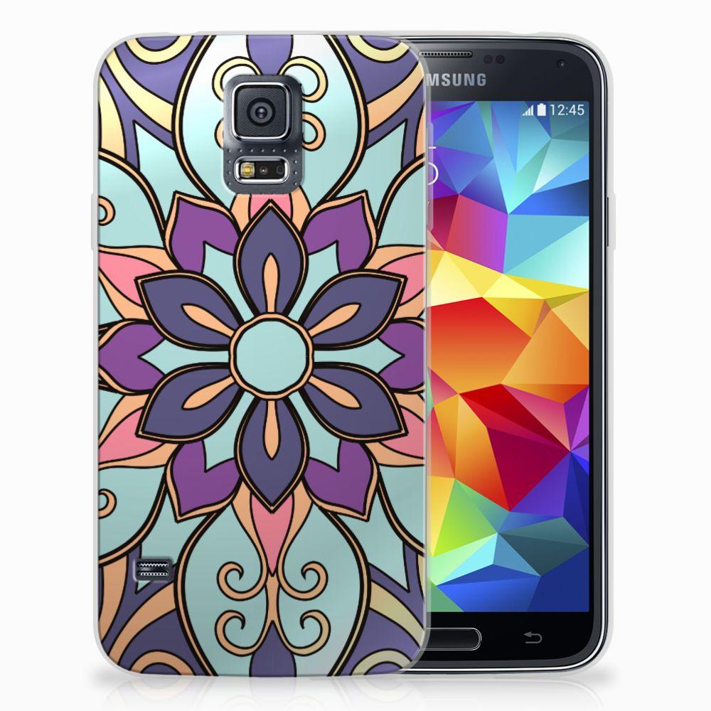 Samsung Galaxy S5 TPU Hoesje Design Purple Flower