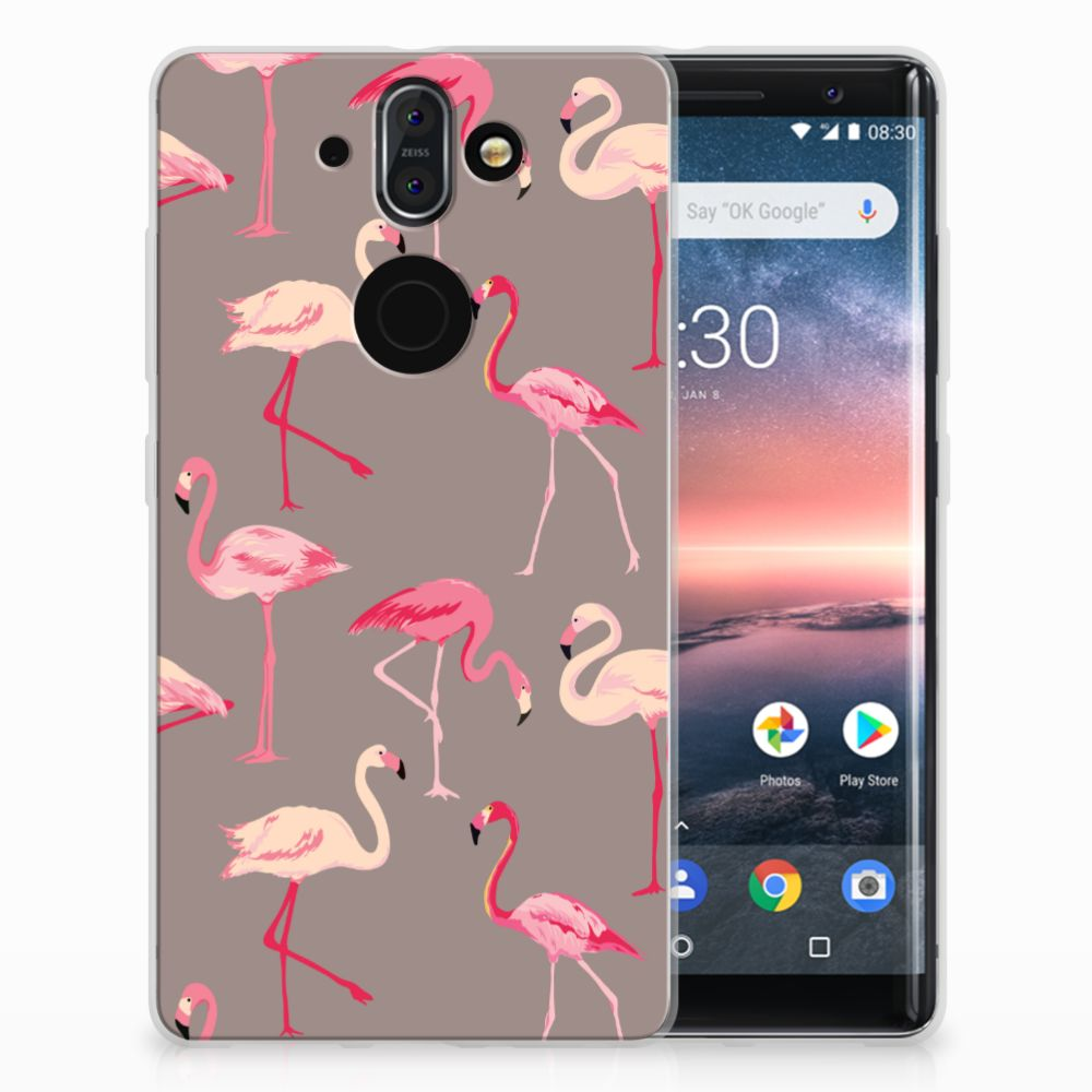Nokia 9   8 Sirocco Uniek TPU Hoesje Flamingo