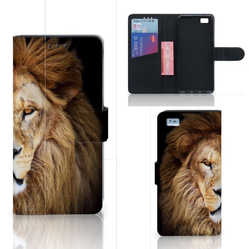 Huawei Ascend P8 Lite Telefoonhoesje met Pasjes Leeuw