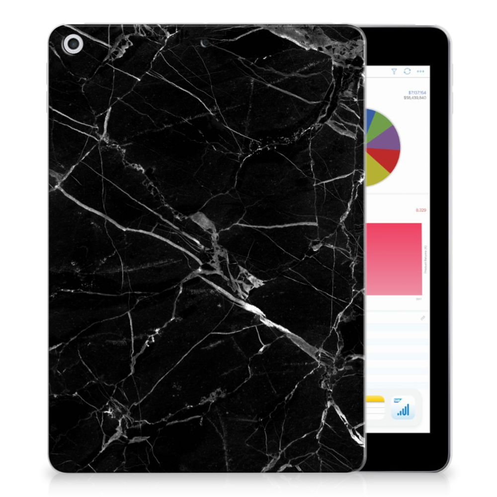 Apple iPad 9.7 2018 | 2017 Tablet Back Cover Marmer Zwart - Origineel Cadeau Vader