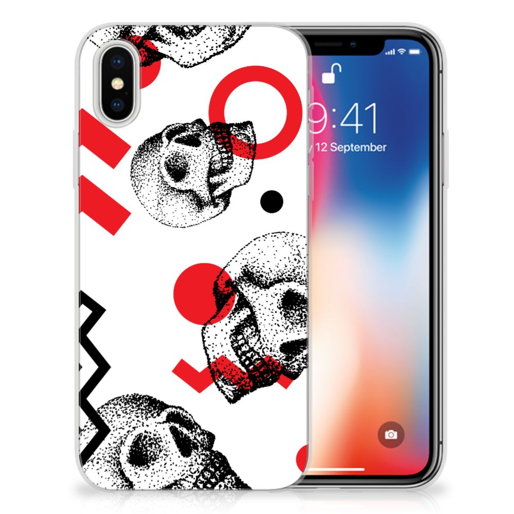 Apple iPhone X | Xs TPU Hoesje Design Skull Red