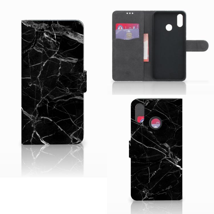 Huawei P Smart Plus Bookcase Marmer Zwart - Origineel Cadeau Vader
