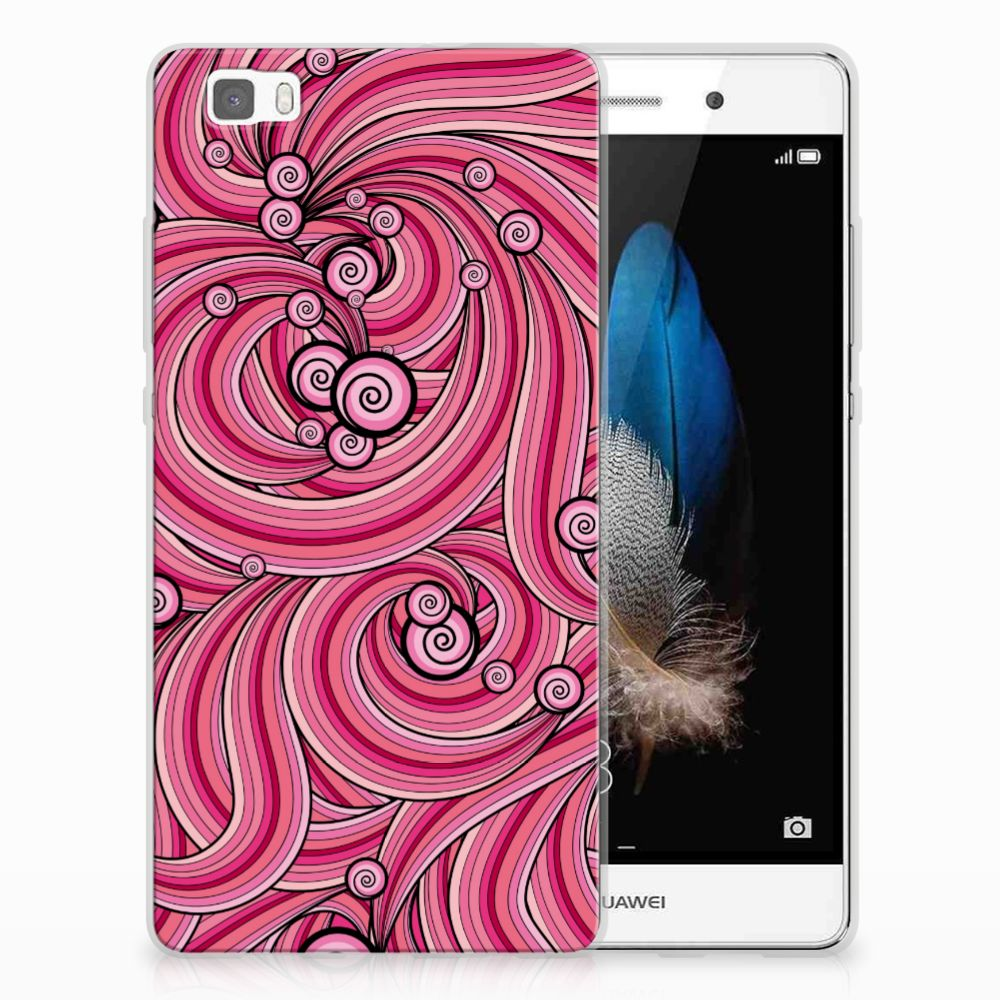 Huawei Ascend P8 Lite Uniek TPU Hoesje Swirl Pink