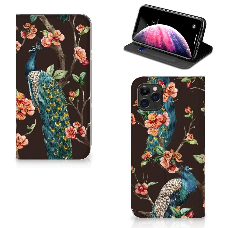 Apple iPhone 11 Pro Max Hoesje maken Pauw met Bloemen