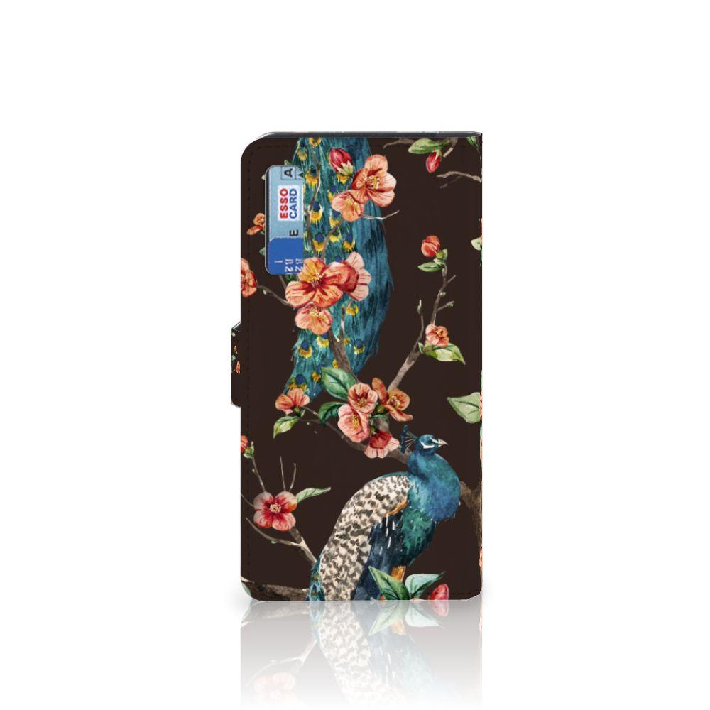 Samsung Galaxy A7 (2018) Telefoonhoesje met Pasjes Pauw met Bloemen