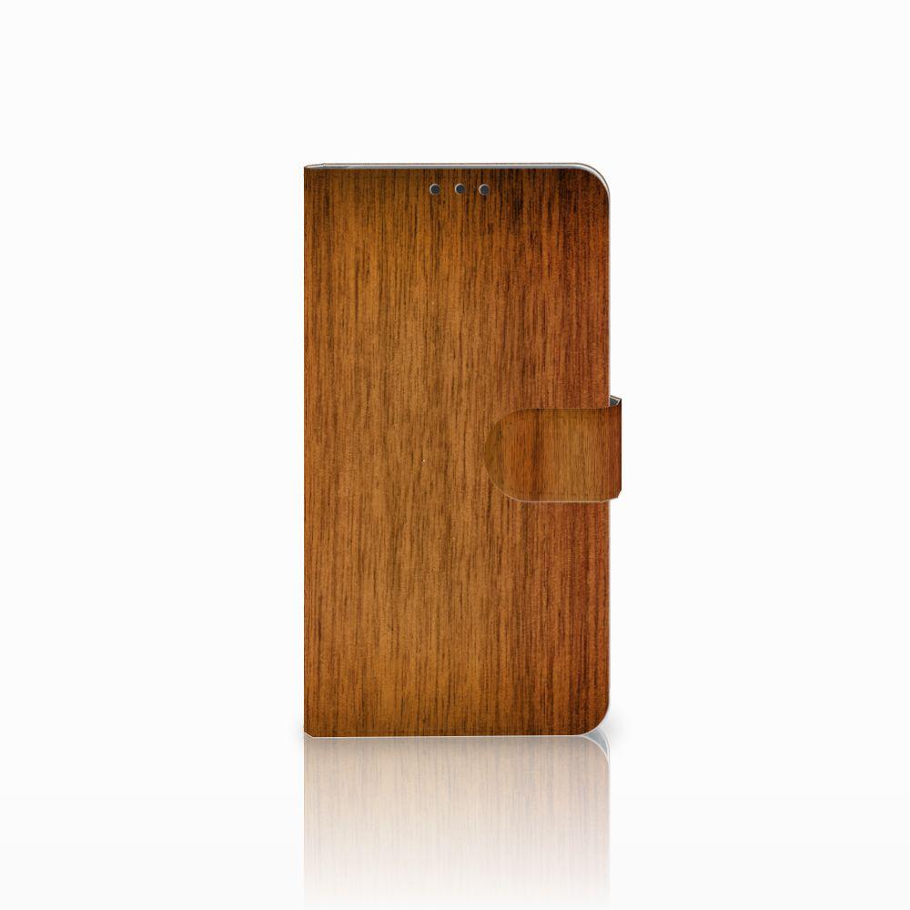 Microsoft Lumia 640 XL Uniek Boekhoesje Donker Hout