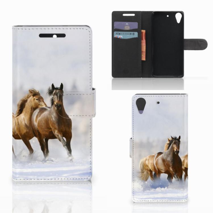HTC Desire 628 Telefoonhoesje met Pasjes Paarden