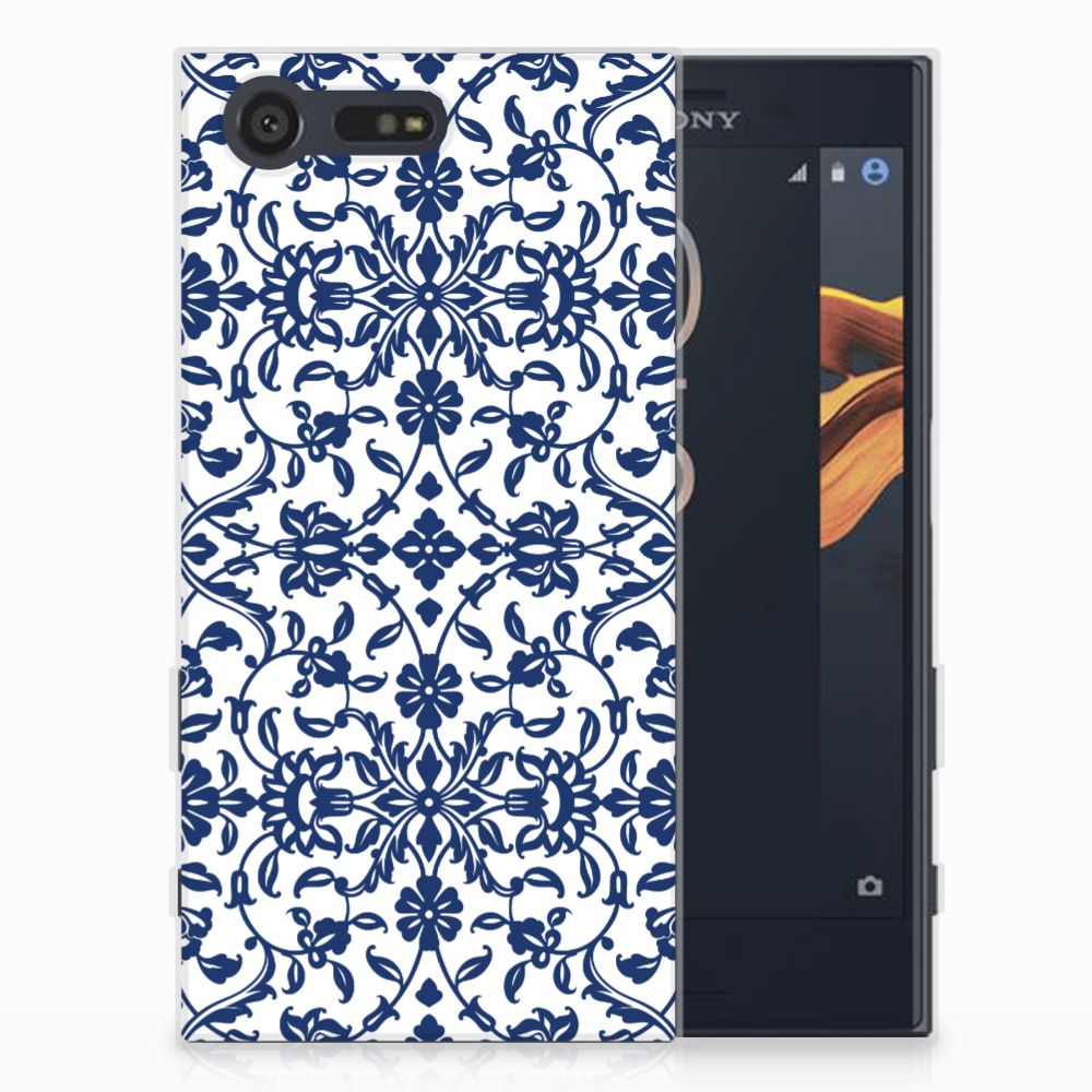 Sony Xperia X Compact TPU Hoesje Flower Blue