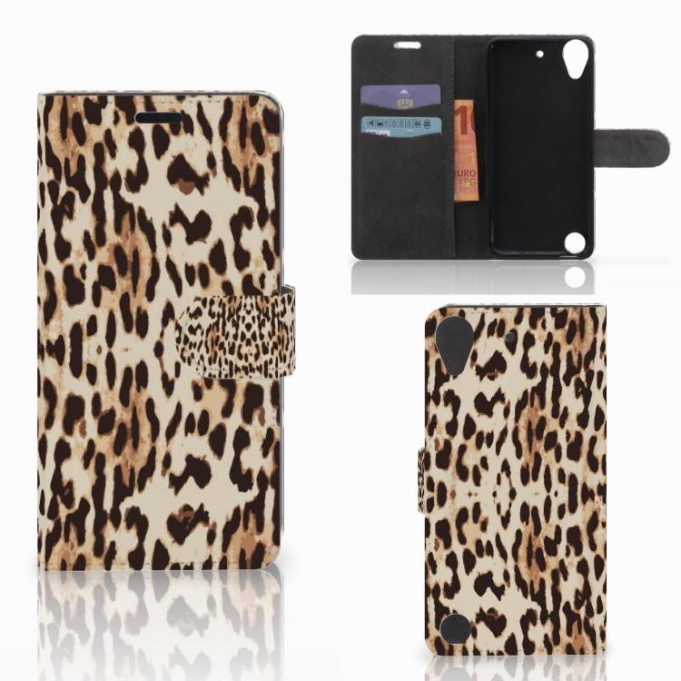 HTC Desire 530 Telefoonhoesje met Pasjes Leopard