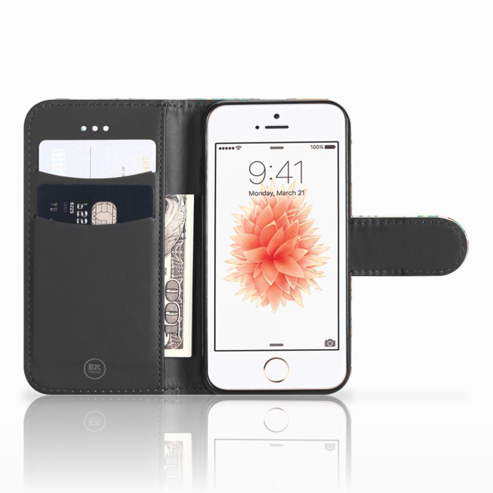 Apple iPhone 5   5s   SE Telefoonhoesje met Pasjes Vrolijke Uilen