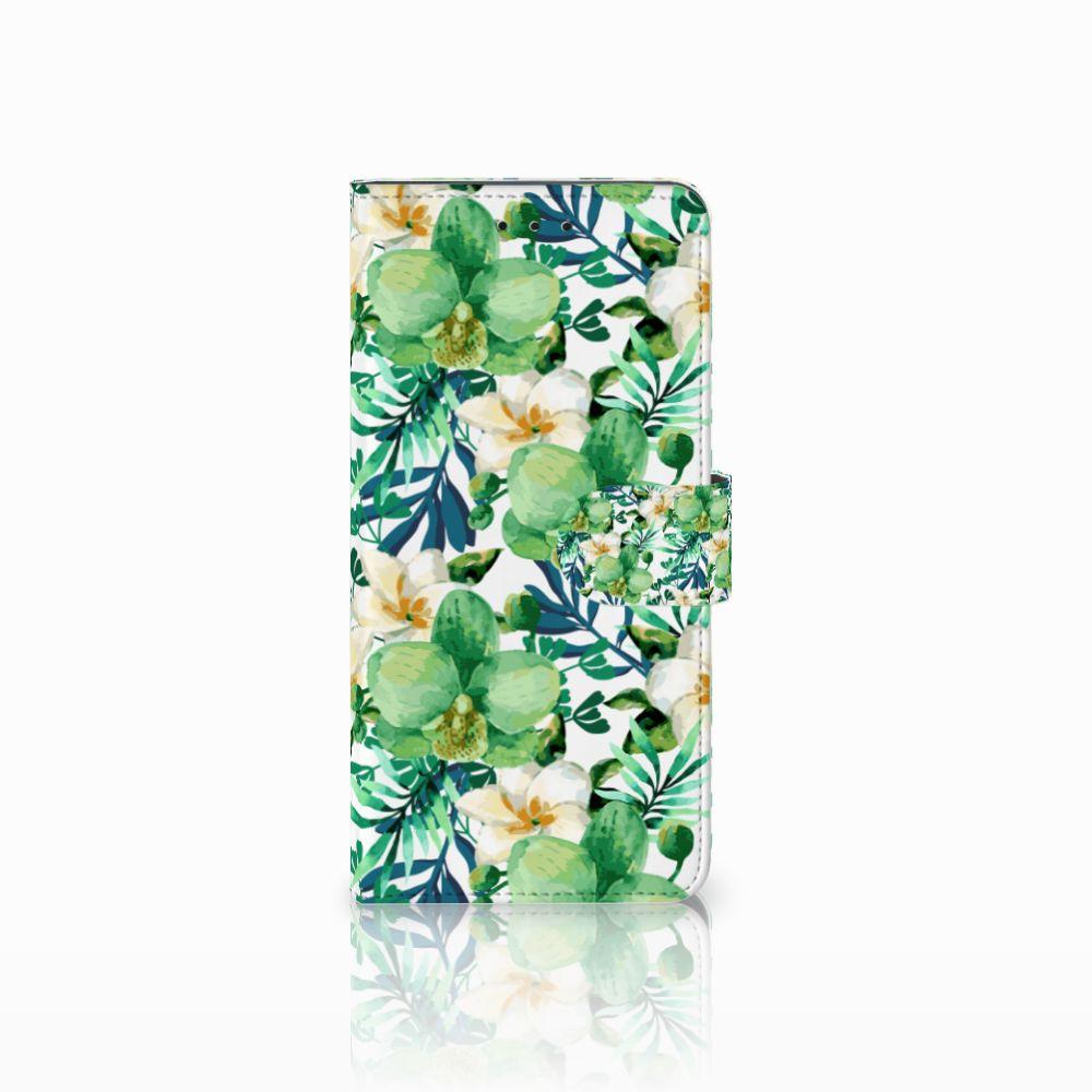 Motorola Moto E5 Plus Uniek Boekhoesje Orchidee Groen