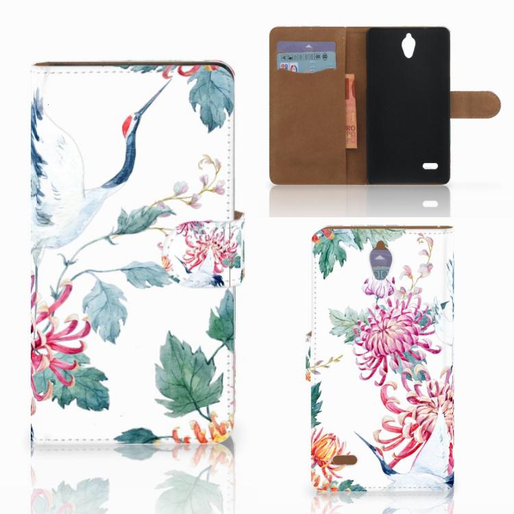 Huawei Ascend G700 Telefoonhoesje met Pasjes Bird Flowers