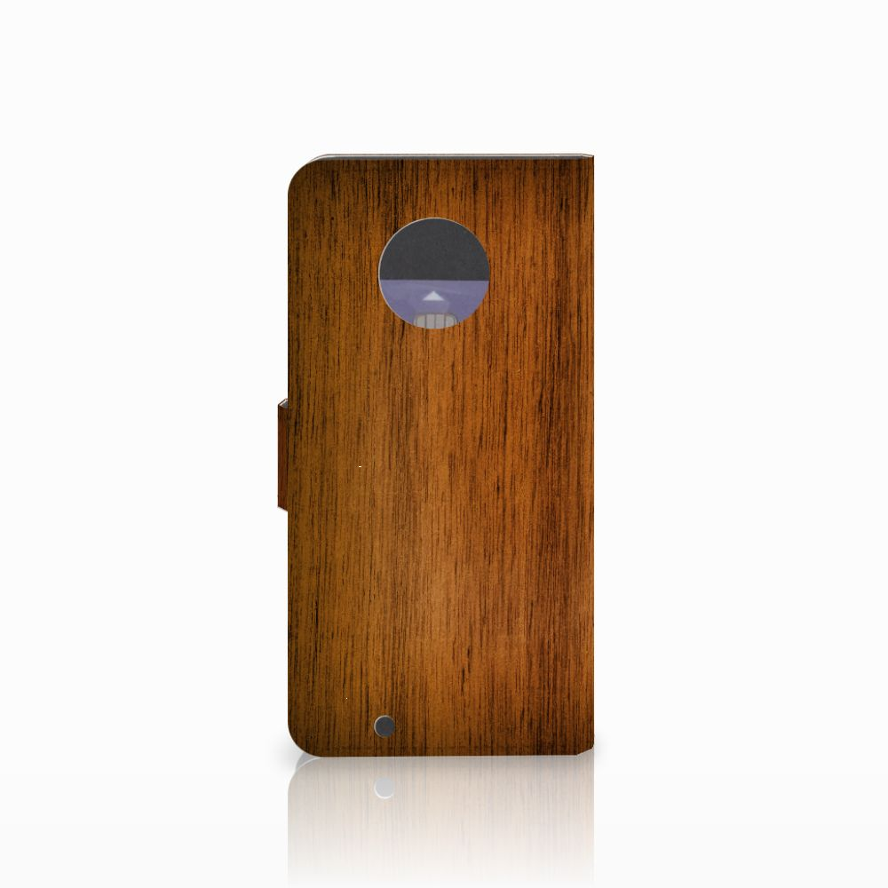 Motorola Moto G6 Book Style Case Donker Hout
