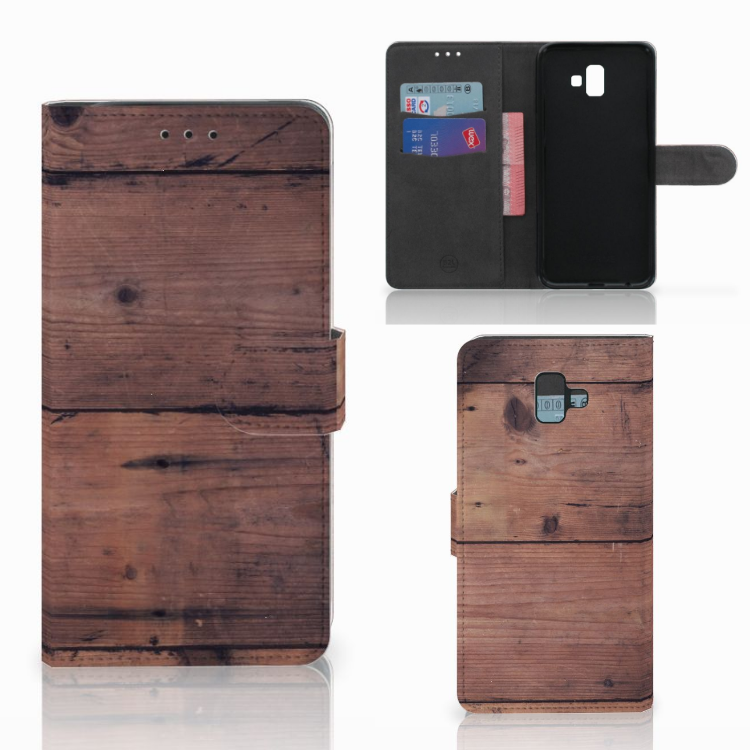 Samsung Galaxy J6 Plus (2018) Book Style Case Old Wood