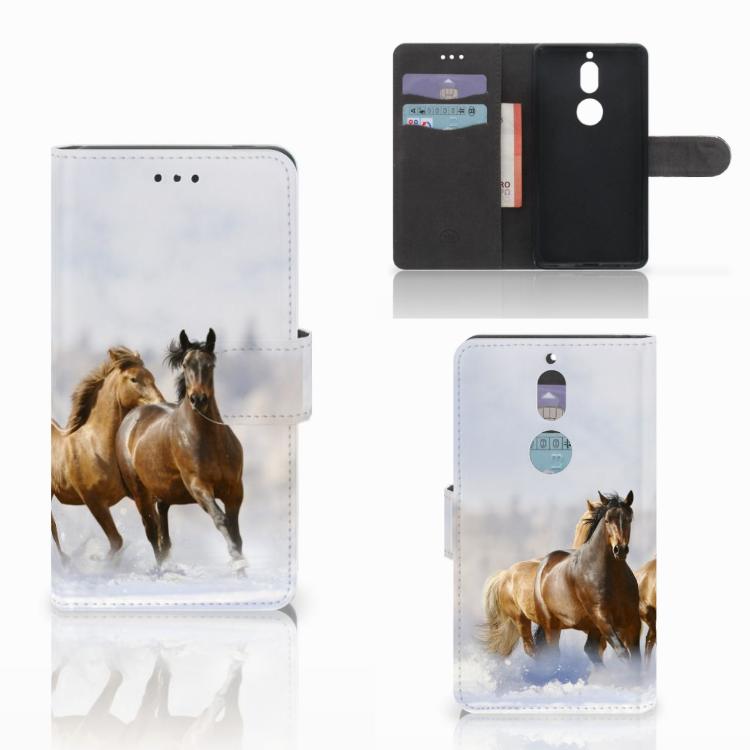 Nokia 7 Telefoonhoesje met Pasjes Paarden