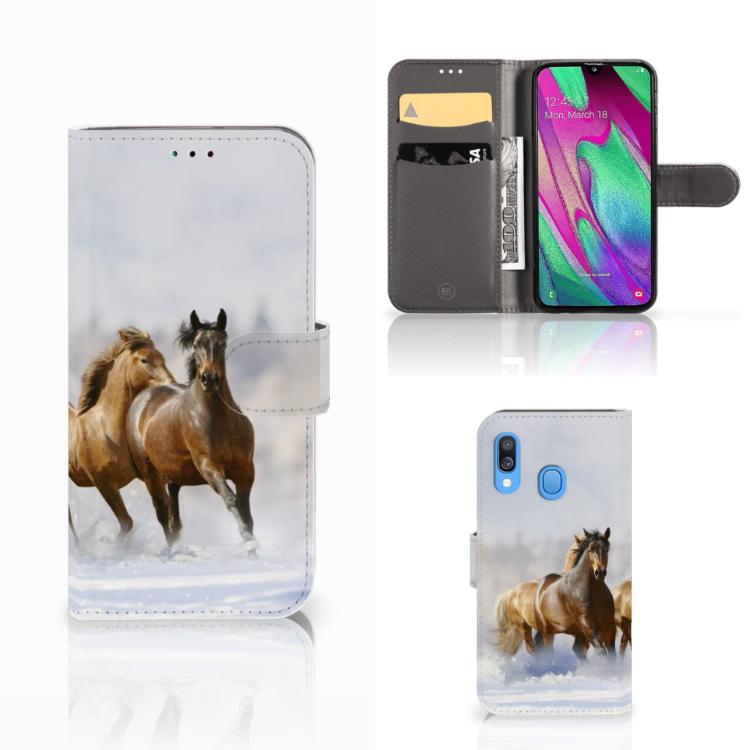 Samsung Galaxy A40 Telefoonhoesje met Pasjes Paarden