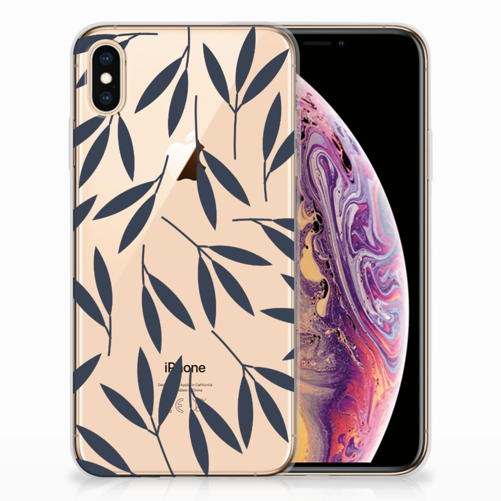 Apple iPhone Xs Max TPU Hoesje Design Leaves Blue