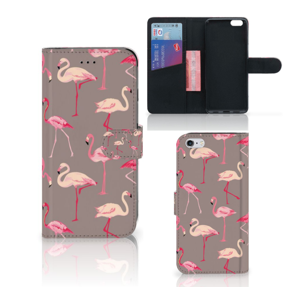 Apple iPhone 6 Plus | 6s Plus Telefoonhoesje met Pasjes Flamingo