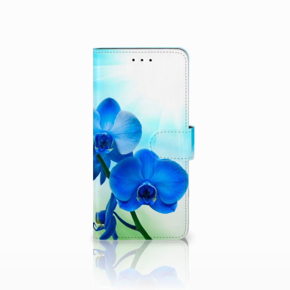Motorola Moto E5 Plus Boekhoesje Design Orchidee Blauw