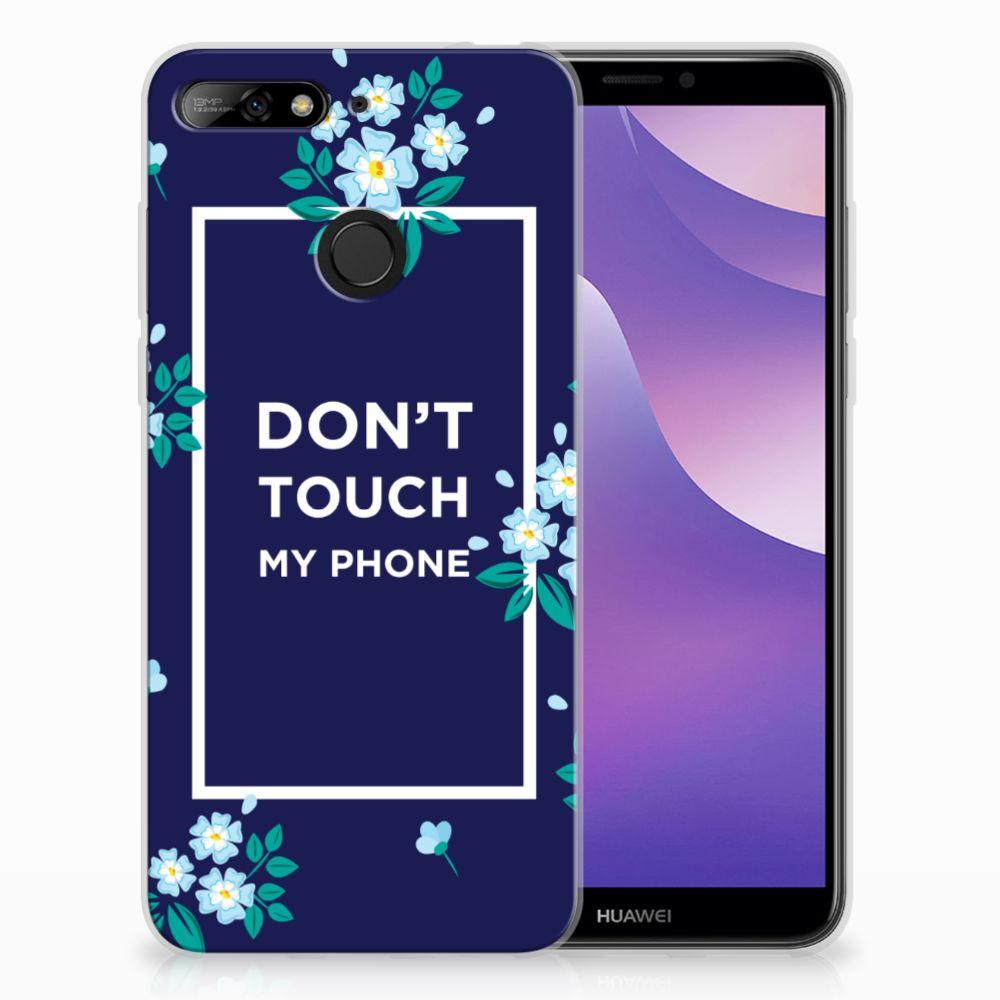 Huawei Y6 (2018) TPU Hoesje Flowers Blue DTMP