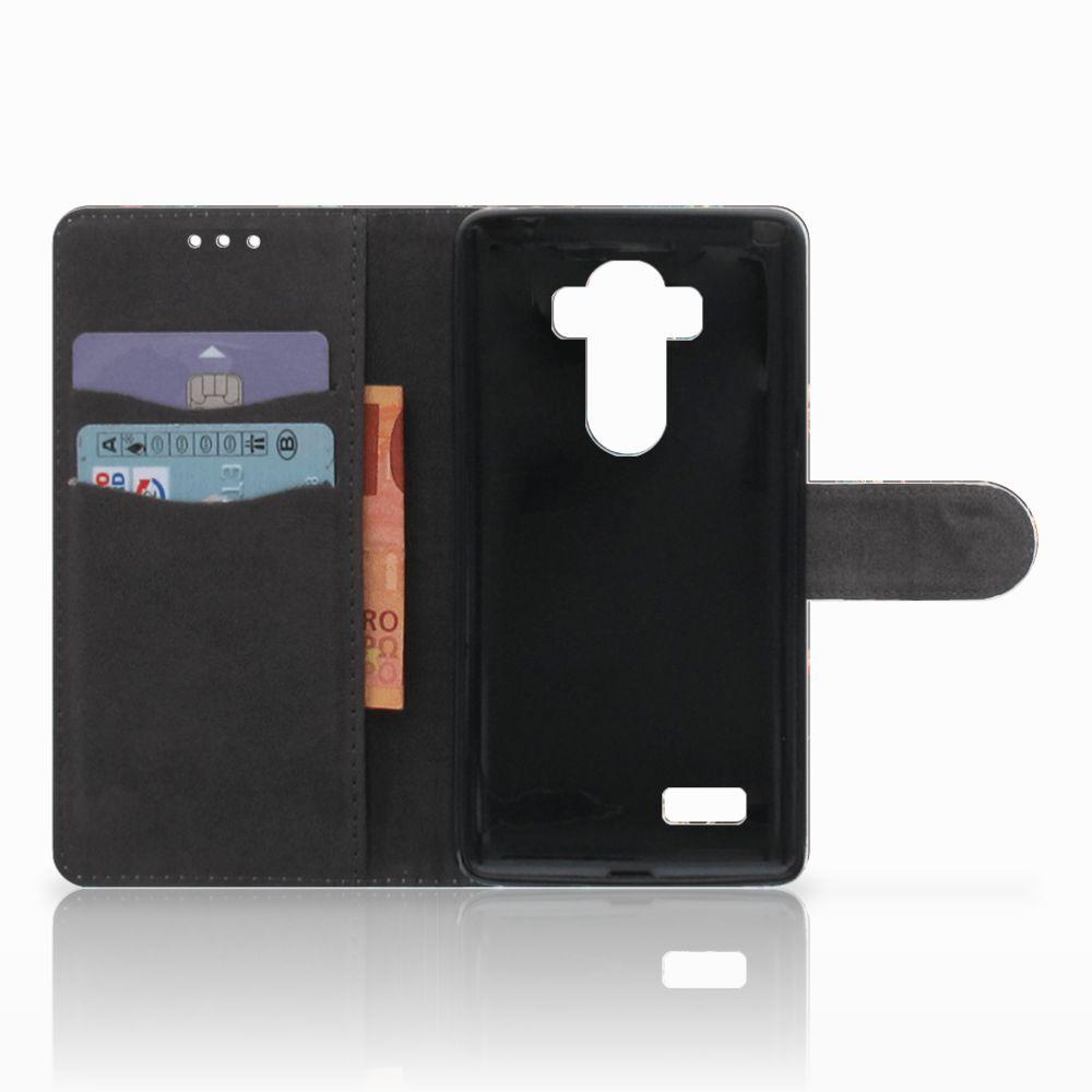 LG G4 Telefoonhoesje met Pasjes Pauw met Bloemen