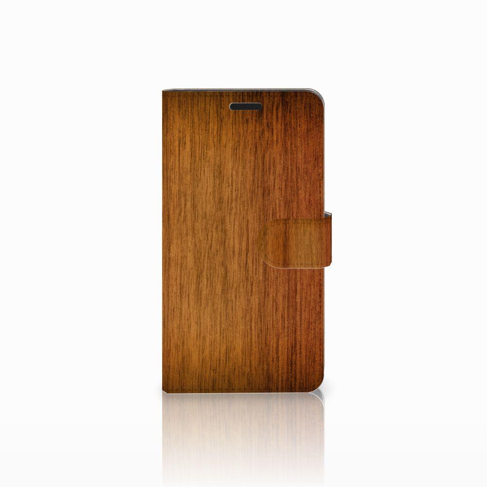 Sony Xperia T3 Uniek Boekhoesje Donker Hout